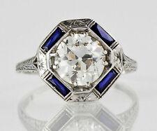 10k White Gold Finish 2/Ct Round Cut Moissanite & Sapphire Art Deco Wedding Ring