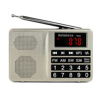 Retekess Portable FM/AM/SW Radio Tuning MP3 Player Shortwave Rechargeable AUX