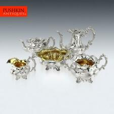 More details for antique 19thc imperial russian 5 piece solid silver tea & coffee service c.1844