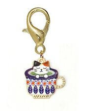 White Cat in a Teacup Gold Plated Kitty Cup Lobster Claw Clip Charm for Bracelet