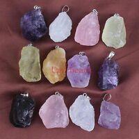 Natural Druzy Amethyst Topaz Rose Quartz Rock Crystals Gemstone Pendant Jewelry
