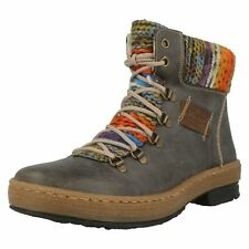 Ladies Rieker Multi Coloured Knitted Trim Ankle Boots 'Z6743'