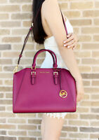 Michael Kors Ciara Large Top Zip Satchel Saffiano Leather Magenta