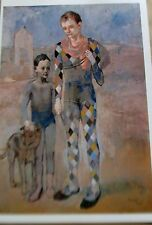 Pablo Picasso Poster Two Saltimbanques with a Dog Offset Lithograph   16x11