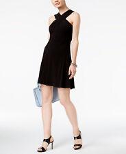 Michael Kors Black Cross Neck Fit & Flare Dress 4 NWT NEW $98