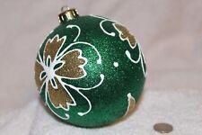 "Green Glitter  Shatterproof Christmas Ball Ornament 4"" (100mm)"