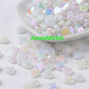 50 x love heart beads white ab colour color mother of pearl look 8mm jewellery