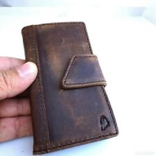 genuine real leather case for iphone 4 4s book wallet magnet cover vintage brown