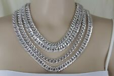 Fashion Jewelry Necklace Set Hip Hop Women Silver Metal Chunky Chain Thick Links