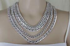 De Mujer Metal Plateado Cadena Gruesa Thick Enlaces Fashion Jewelry Necklace Set