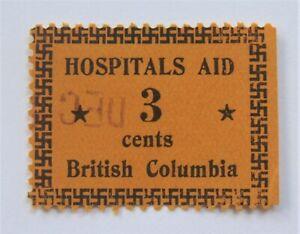 1933 Canada BCH1 British Columbia Hospitals Aid Revenue 3 cents