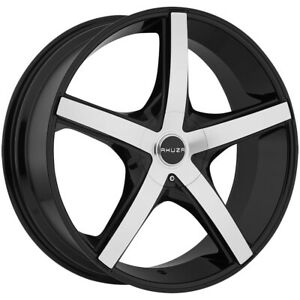"22"" Inch Akuza 848 Axis 22x8.5 5x115/5x120 +35mm Black/Machined Wheel Rim"