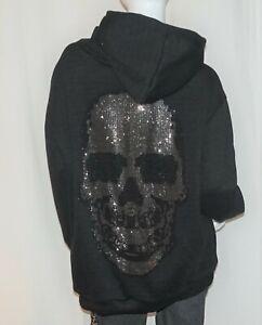 XXL Glitzer Totenkopf Hoodie Kapuzen Skull Hooded Sweater Schwarz 38,40,42 Neu