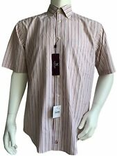 Nordstrom Men's Smart Care Shirt Size Medium Non-Iron Short Sleeve Pink Striped