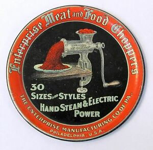 early ENTERPRISE MEAT AND FOOD CHOPPERS tin litho tip tray ashtray Meat Grinder