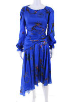 Preen By Thornton Bregazzi Womens Long Sleeve Floral Diana Dress Blue Size S