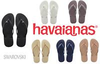 Original HAVAIANAS Slim Crystal Glamour Swarovski Flip Flops Size 2 3 4 5 6 7 8
