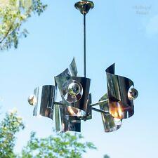 French Vintage Max Sauze 60s/70s Aluminium 5 Arm Modernist Ceiling Light Fixture