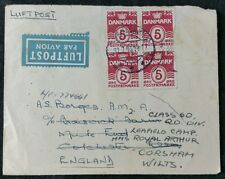 Redirected Airmail Cover Denmark to Leafield Camp, UK, 1946 Block of 4 x 5 Ore