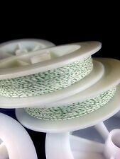 (1) White w/ Green Genuine Irish Linen Single Pool Billiard Cue Wrap Spool