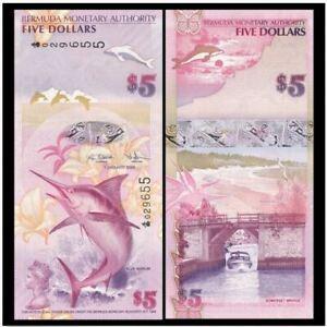 Bermuda 5 Dollar 2009 Prefix Onion (UNC) 百慕大5元 2009年 847383 Nice Number