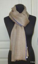 71f9bc07a9b9 Gerard DAREL Echarpe Chèche Etole 100% cashmere marron clair bleu lavande  scarf