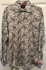 Daniel Cremieux Men's Long-Sleeve Button Down Shirt Paisley Print XL Red Trim