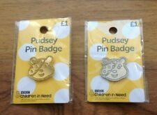 Pudsey Bear - Silver & Gold Pin Badges. Free UK Postage