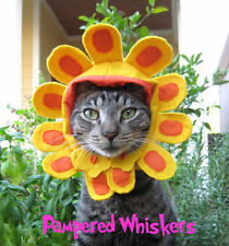 """Cat Flower Hat -Cat_Dog Flower costume for cats and dogs 7-11"""" collar size"""
