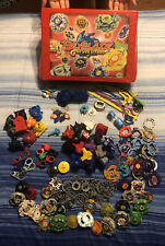 HUGE LOT of Hasbro Beyblades Metal Plastic Extra Pcs + Carrying Case NO RESERVE