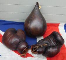 Estilo Vintage Antiguo Pulido A Mano Retro Cuero Guantes de boxeo y Speedball