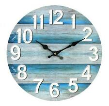 WALL CLOCK Boards Teal Beach Retro Decor Kitchen Home Office Bold Numbers Marine