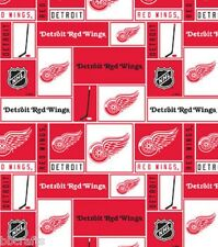 NHL HOCKEY DETROIT RED WINGS PW FLEECE FABRIC MATERIAL BY THE 1/2 YARD CRAFTS