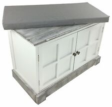 Wooden Storage Bench Cushion Seat Solid Wood Cupboard Shabby Chic Hallway White