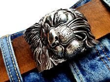 Cintura fibbia LEONE LION ARGENTO Animale Gatto Tigre cambio FIBBIA BUCKLE 4cm
