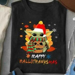 Yoda Happy Hallothanksmas Halloween Thanksgiving Xmas T shirt Black S-5XL