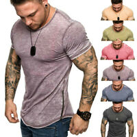 Fashion Men Summer Slim Zipper Fit Short Sleeve Patchwork Tops Blouse T Shirts