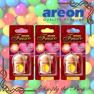 3x Areon Fresco Car & Home Perfume Long Lasting Air Freshener BUBBLE GUM scent