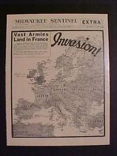 Vintage Newspaper Headline ~World War 2 Nazi France Battle D-Day Invasion Wwii