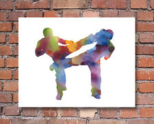 Kick Boxing Abstract Watercolor Painting Canada 11 x 14 Art Print by DJR