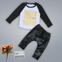 Newborn Infant Kids Baby Boys Girls T-shirt Tops+Pants Outfits Clothes Set 0-24M
