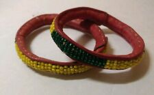 colorful Bangles Mali Handmade leather Lot of 2-Vintage African Bracelet Beaded