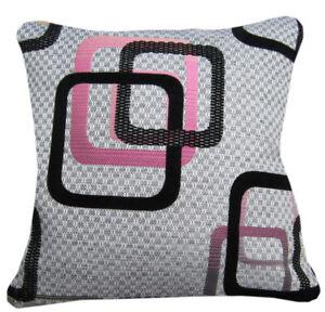 Qb302ba Black Pale Gold Hot Pink Linen Blend Checker Cushion Cover/Pillow Case