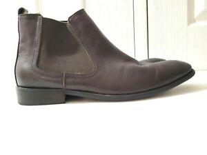 AIRFLEX Mens Reform Chelsea Boots Black Leather Elastic Sides Pull On Sz 6 VGC
