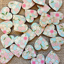Pastel and Gold Mini Wooden Hearts, Wedding Decorations, Confetti, Craft, Bride
