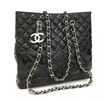 CHANEL Quilted In The Business Silver Hardware Patent Leather Tote Bag Good