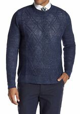 NWT ROBERT GRAHAM M Sz NAVY RANDAI 100% LINEN CABLE FRONT PULLOVER SWEATER $228