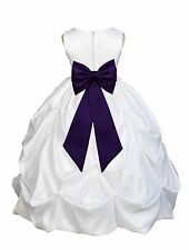 WHITE JR. BRIDESMAID INFANT TODDLER PAGEANT TAFFETA PARTY GOWN FLOWER GIRL DRESS