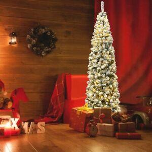 7.5 Ft Pre-lit 350 LED Lights Snow Flocked Hinged Pencil Christmas Tree Lifelike