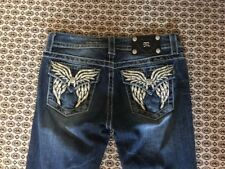 MISS ME Jeans Straight Bejeweled Size 26 Low Rise Distressed